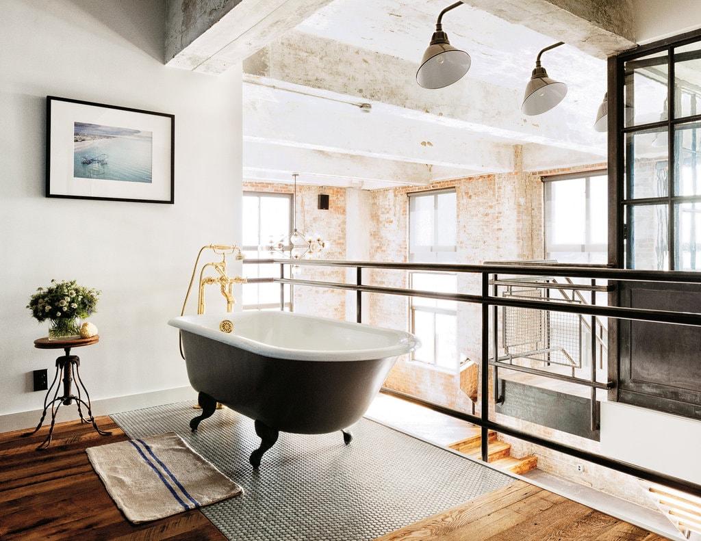 Industrieel New York badkamer